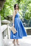 Romantic Blue Open Back Pearl Neck Backless Pleated Dress
