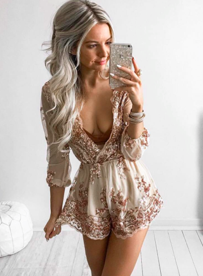 ‰ªÁ Gold Deep V Neck Sequined Romper With Belt  ‰ªÁ