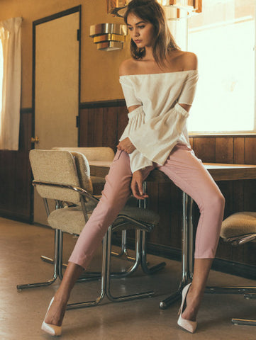 Skinny Ankle High Pink Crop Pants