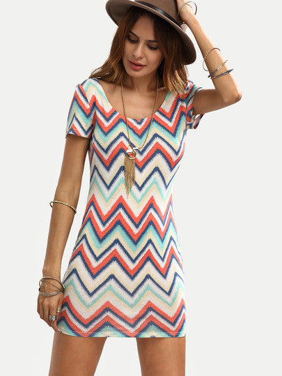 Summer Bandage Multicolor Zigzag Print Bodycon Dress