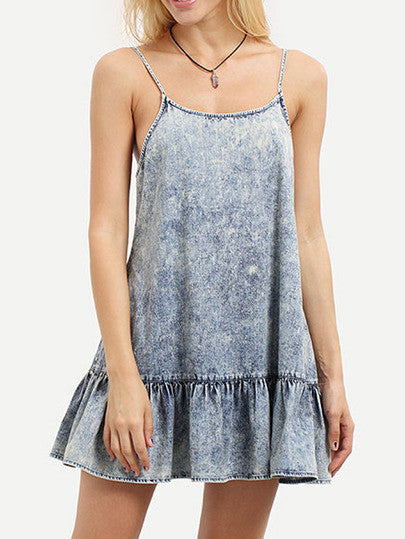 Summer Denim Casual Blue Spaghetti Strap Backless Ruffle Dress