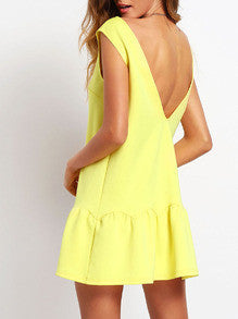 Summer Mini Yellow Ruffle Flare V Neck Backless Drop Waist Sexy Trendy Dress