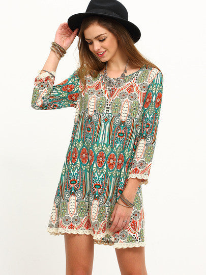 Summer Women New Multicolor Print Vintage Three Quarter Sleeve Dress