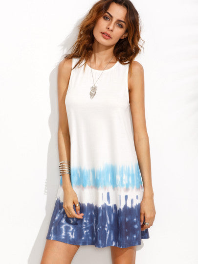 Tie Dye Print Summer Beach Sleeveless Shift Dress