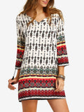 Tribal Print Half Sleeve Dress. Tribal Print Half Sleeve Dress