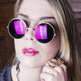 RETRO ROUND STEAMPUNK MIRRORED LENS FLIP UP SUNGLASSES 8966d-A