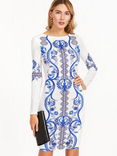 Vintage Print Long Sleeve Bodycon Blue and White Print Dress