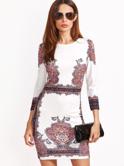 White Long Sleeve Vintage Print Bodycon Dress