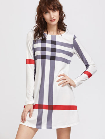 White Striped Cross Pattern Long Sleeve Dress