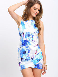 Women's Fashion Blue Floral Print Bodycon Summer Dress Contrast Cut Cut Wrap Dress