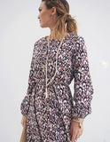 Womens Trendy Retro Long Sleeve Vintage Print Dress