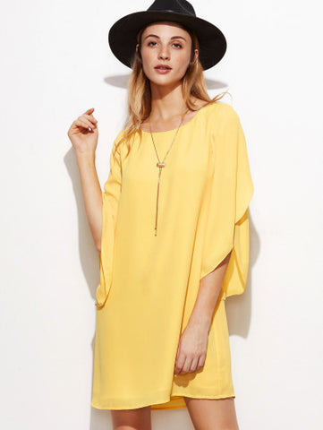 Yellow Baggy Sleeve Shift Dress