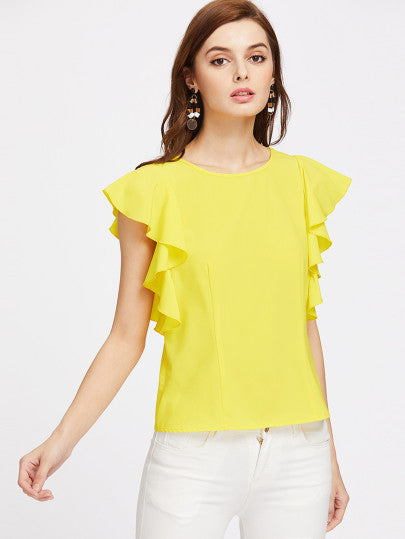 Yellow Cap Sleeve Ruffle Fringe Top Blouse