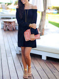 Black Dress Long Sleeve Off The Shoulder Dress