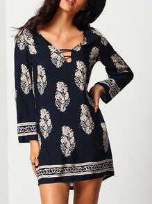 Navy Shift Dress with Aztec Tribal Print