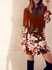 Red Flowers Dress Long Sleeve Vacation Dress