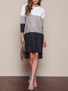 White Grey Black Dress Round Neck Casual Color Block Dress