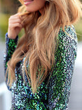 Green Sequins Even Dress Perfect for New Years Eve