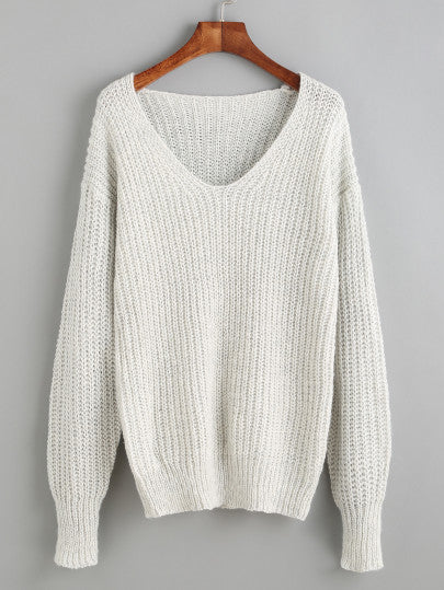 Grey V Neck Drop Shoulder Fall Light Sweater