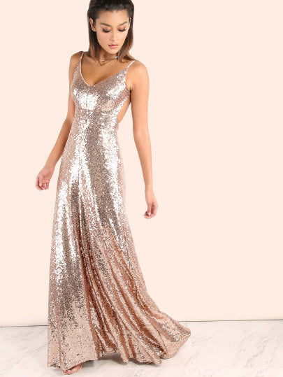 Holiday New Years Dress Sequins Backless Rose Gold Maxi Dress