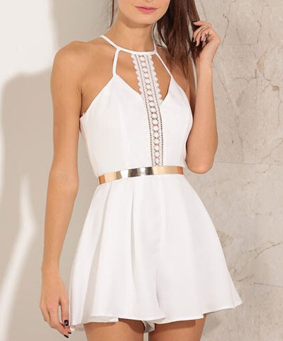 White Lace Romper with Spaghetti Straps and Embroidered Front