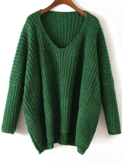 Chunky Knitted Sweater Green V Neck Fall Winter Sweater