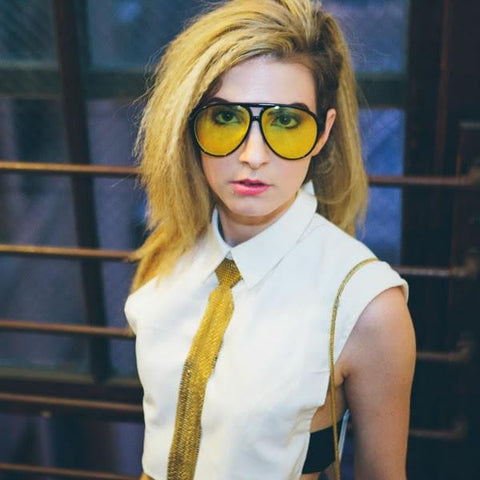 RETRO 1980'S FASHION PLASTIC AVIATOR YELLOW DRIVING LENS SUNGLASSES 8805d-A