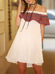 Off the Shoulder White Dress with Vintage Print