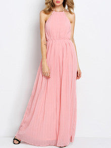 Pink Maxi Dress Sleeveless Halter Pleated Dress