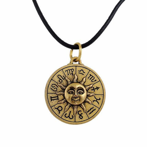 Vintage Astrology Pendant Leather Necklace