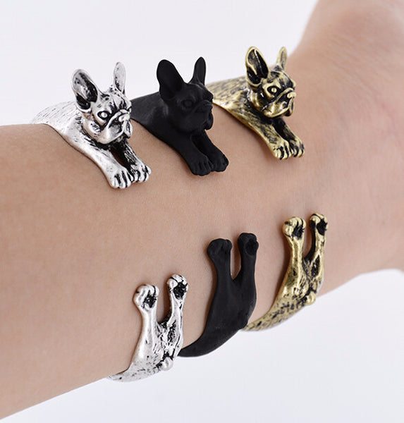 Open Cuff Bulldog Design Bangle [3 Variants]