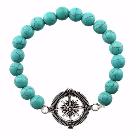 Turquoise Compass Charm Beaded Bracelet
