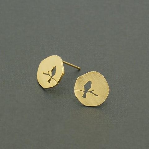 18k Gold  Plated Hollow Vintage Animal Bird On A Branch Stud Earring