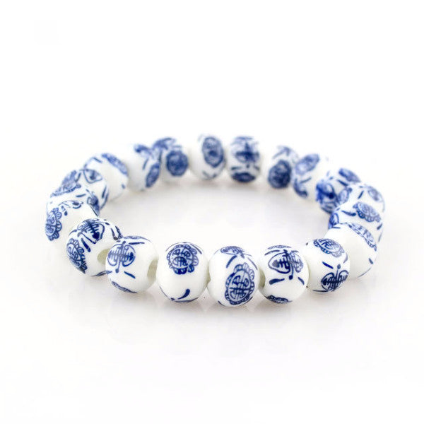 Chinese Signs in White Porcelain Beaded Bracelet