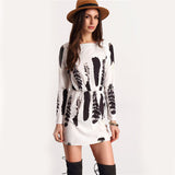 ‰ªÁ  Tunic White and Black Long Sleeve Patchwork Dress