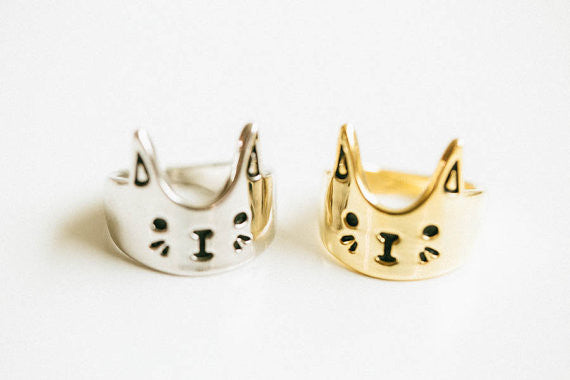 Love Cat Ring Animal Kitty Ring Cat Head Face