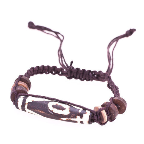 Adjustable Cylindrical Tibetan Bone Bracelet