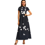 ‰ªÁ Black High Neck Short Sleeve Flower Print Chiffon Elegant Maxi Dress ‰ªÁ