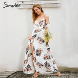 Floral Print Ruffles Chiffon Long dress Strap V Neck Split Beach Summer