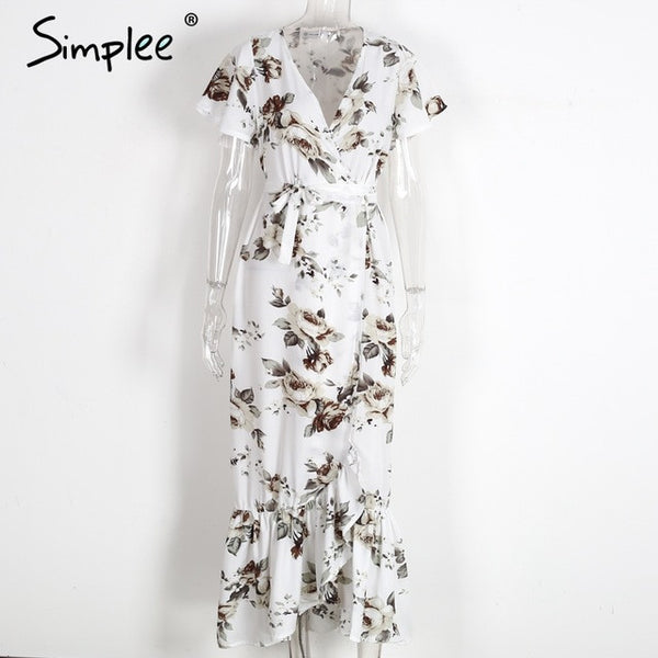 Boho Floral Print Mermaid Long Beach Vintage Split Dress Robe Elegant Summer