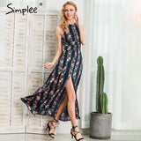 Sleeveless Floral Print Long Backless Summer Dress