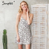 Floral Print Casual V Neck Strap High Waist Short Dresses Beach Summer
