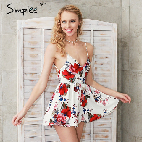 Summer Beach Boho Floral Print Overalls Backless Bodysuit Jumpsuit Romper