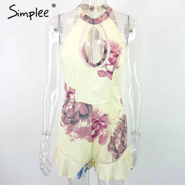 Hollow Out Floral Print Jumpsuit Romper Elegant Lace Ruffle