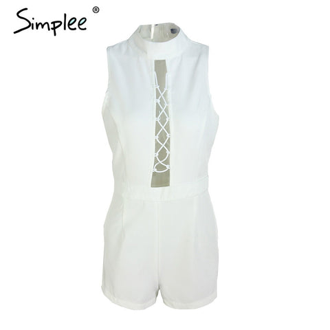 Apparel High Neck Lace Up Elegant Jumpsuit Romper Sleeveless Summer