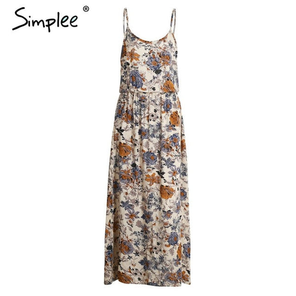 Simplee Vintage summer dress women sundress Hollow out boho floral print maxi dress 2017 beach dress Strappy vestidos de festa
