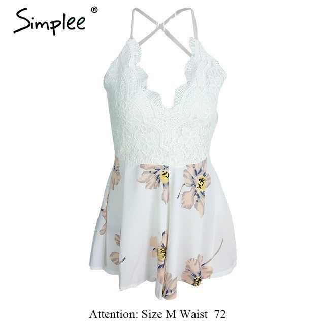 be727383e2a White Lace Floral Jumpsuit Romper with Strap – spredfashion