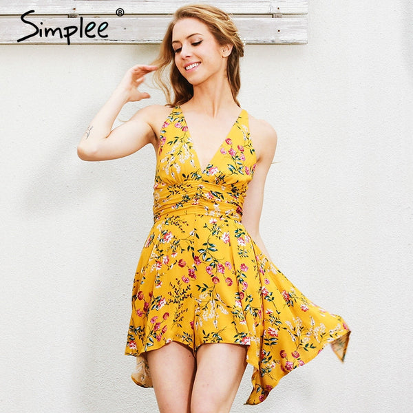 Deep V Floral Print Coveralls Backless Zipper Jumpsuit Romper Bodysuit Summer