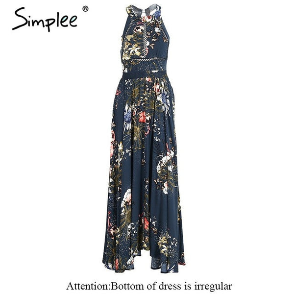 Lace Up Halter Floral Long Summer Chic Backless Dress
