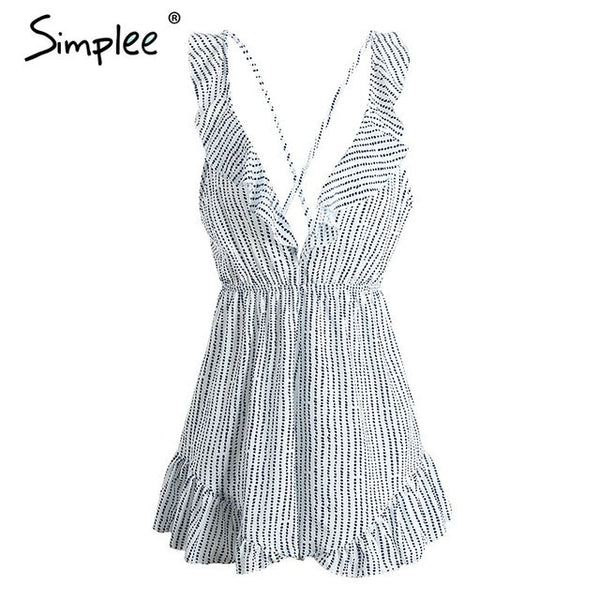 Backless Ruffle Dot Jumpsuit Romper Deep V Neck Playsuit Beach Summer